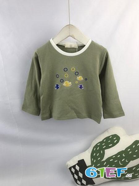 棋乐优优童装品牌2019春季卡通圆领纯棉T恤