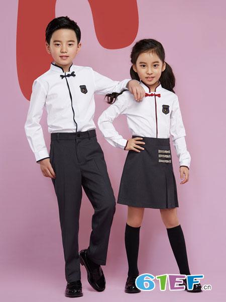 乔治白校服童装品牌2019春夏学院风白色工作服学生撞色边棉质长袖衬衫