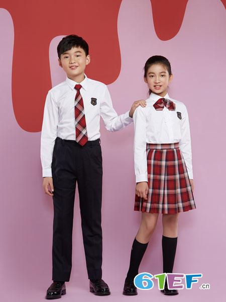 乔治白校服童装品牌2019春夏套装领带格子小学生校服班服