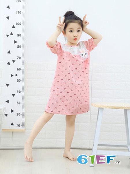 灵龙童装品牌2019春季新款吊带家居服