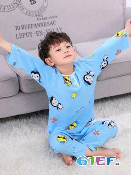 灵龙童装品牌2019春季韩版中长裙短袖可爱薄款睡裙清新全棉质裙