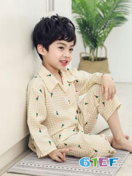 灵龙童装品牌2019春季长袖家居服套装薄款空调服