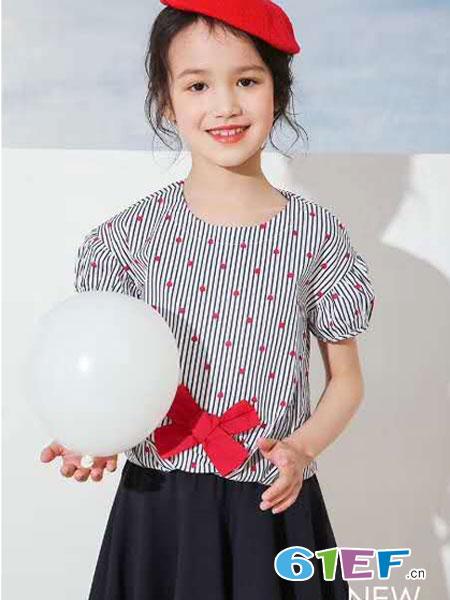 8eM童装童装品牌2019春夏美宽松蝙蝠中袖衬衫女绣花条纹娃娃款上衣