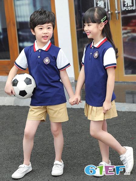 威酷童装品牌2019春夏表演服英伦风纯棉运动套装
