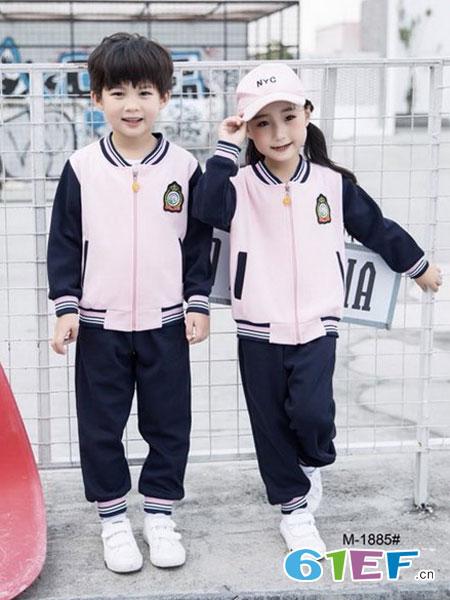 玛咪哇咔童装品牌2019春夏粉色校服套装时尚校服