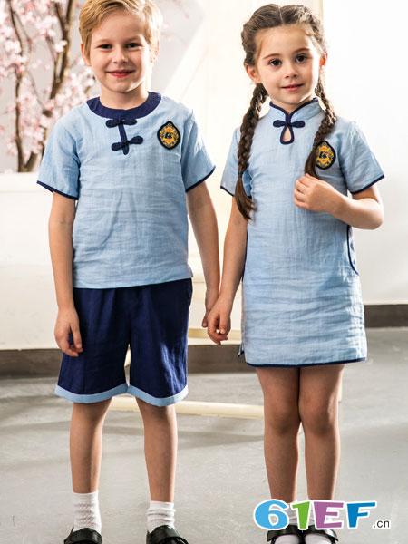 爱兔童装品牌2019春季短袖运动服中小学生校服班服套装棉