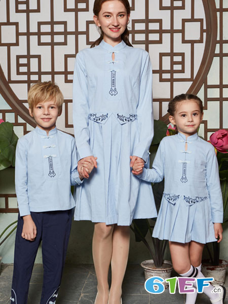 爱兔童装品牌2019春季连衣裙绣花儿童裙民族风毛呢