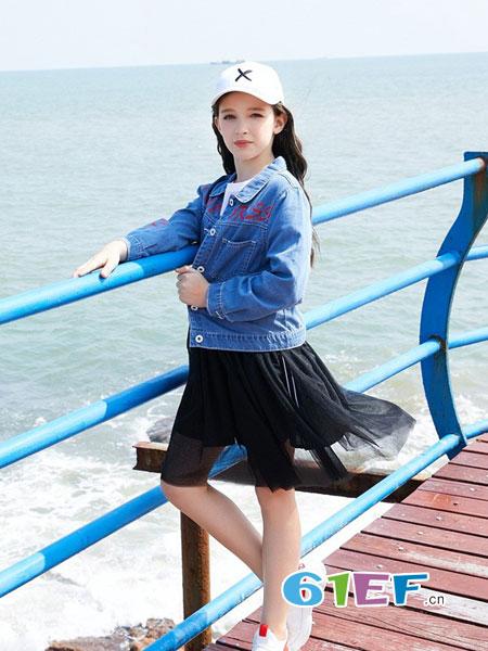 可趣可奇童装品牌2019春夏绣花中童牛仔服韩版女童牛仔夹克外套