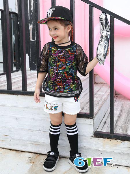 Folli Follie童装品牌2019春夏休闲镂空显瘦两件套时尚短袖