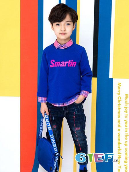 西萌叮童装品牌2019春夏新款全棉套头上衣男童撞色卫衣