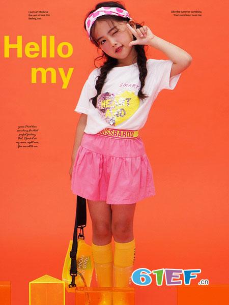 西萌叮童装品牌2019春夏简约卡通印花圆领短袖T恤