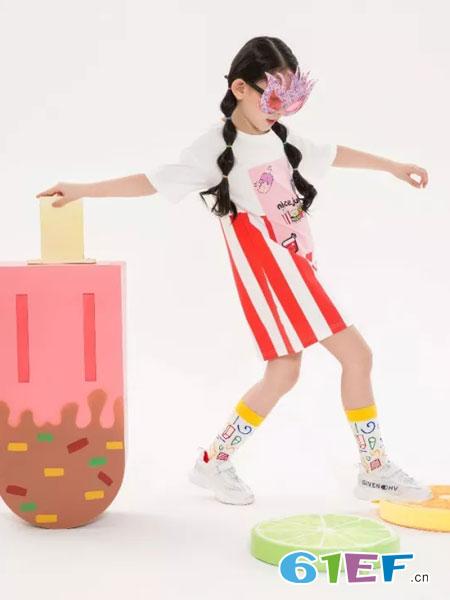 兔子杰罗童装品牌2019春夏修身字母条纹连衣裙