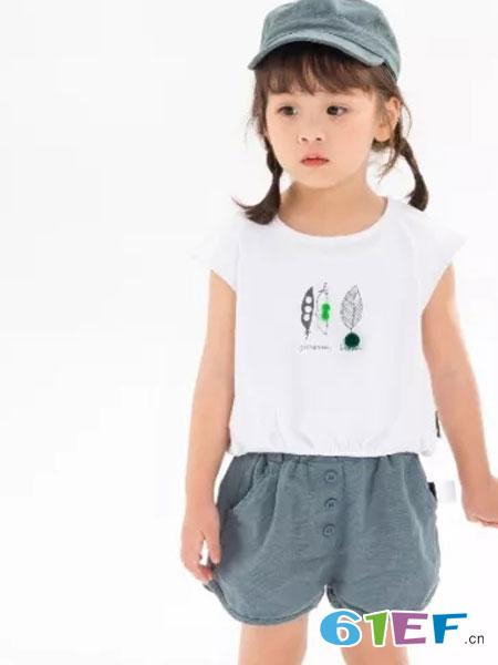 兔子杰罗童装品牌2019春夏小清新圆领上衣短裤套装