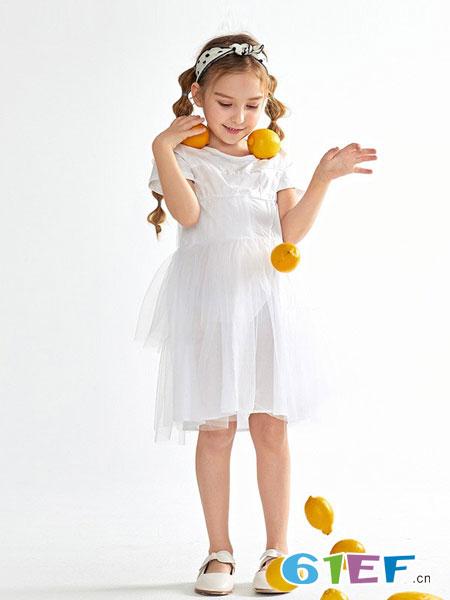 Mongdodo梦多多童装品牌2019春夏9新款中大童公主裙短袖纱裙