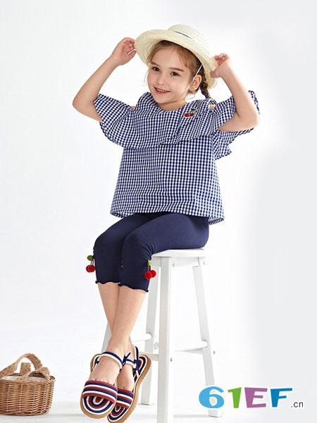 Mongdodo梦多多童装品牌2019春夏百搭荷叶边格子衬衣格纹上衣