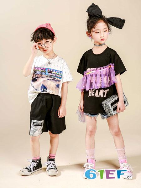 玖�闯蓖�童装品牌2019春夏女童纱裙叠穿设计连衣裙