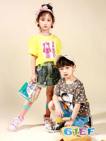 玖喆潮童童装品牌2019春夏圆领短袖T恤简洁