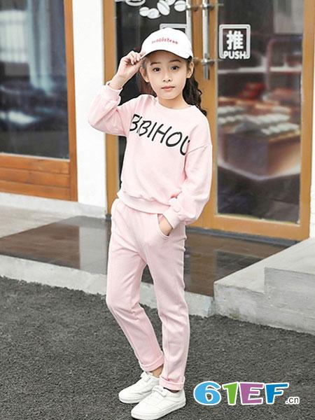 笔笔猴童装品牌2019春夏不带帽两件套装女孩韩版长袖t恤