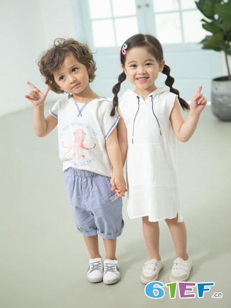 朵拉迪亚哥童装品牌2019春夏连帽卫衣短袖连衣裙