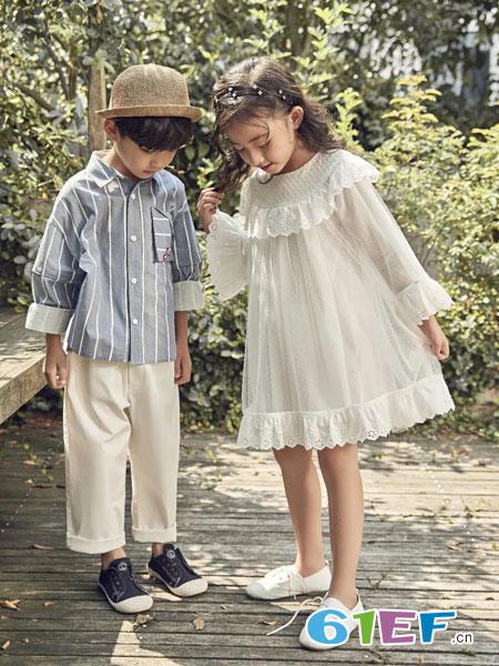 SENYU森屿童装品牌2019春夏韩版儿童蕾丝公主裙女孩网纱长袖裙子