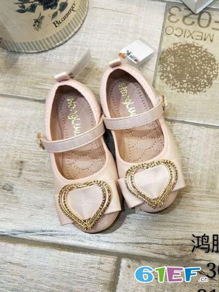 鸿胪娃童装品牌2019春夏水钻扣童鞋公主单皮鞋