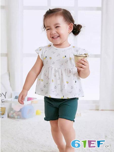 奥米多童装品牌2019春夏短袖女扣打底衫纯棉圆领上衣