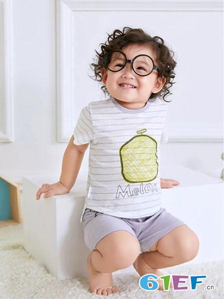 奥米多童装品牌2019春夏短袖T恤 条纹衫休闲上衣