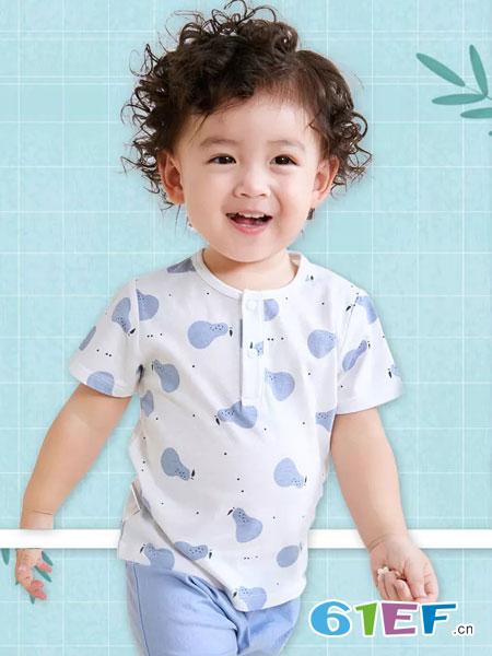 奥米多童装品牌2019春夏短袖T恤碎花打底衫