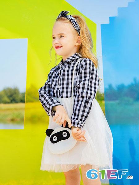 青蛙皇子华东、华北招商童装品牌2019春夏长袖中小童洋气格子拼接纱裙时尚潮