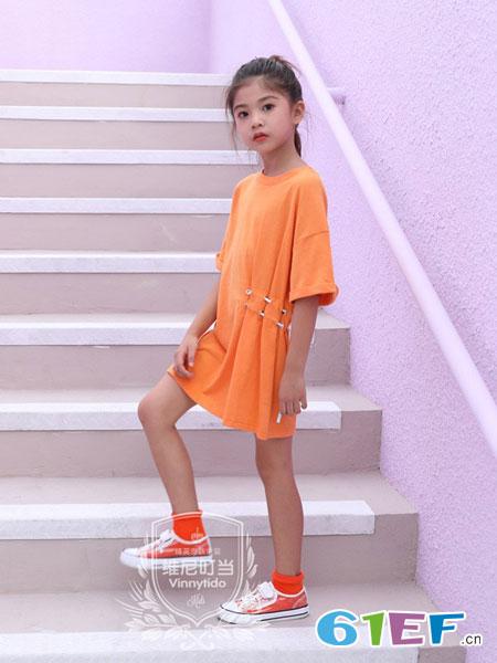 维尼叮当童装品牌2019春夏韩版气质网红带收腰显瘦中长款T恤