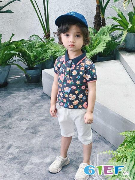 �S尼叮��童�b品牌2019春夏半袖打底衫����polo翻�I上衣潮