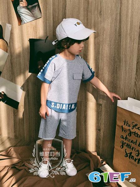 维尼叮当童装品牌2019春夏短袖T恤休闲短裤运动bf风学生潮流