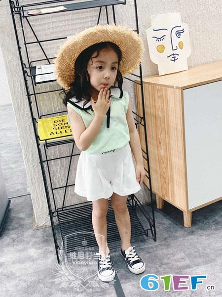 维尼叮当童装品牌2019春夏时尚珍珠蝴蝶结圆领无袖背上衣宽松雪纺衫