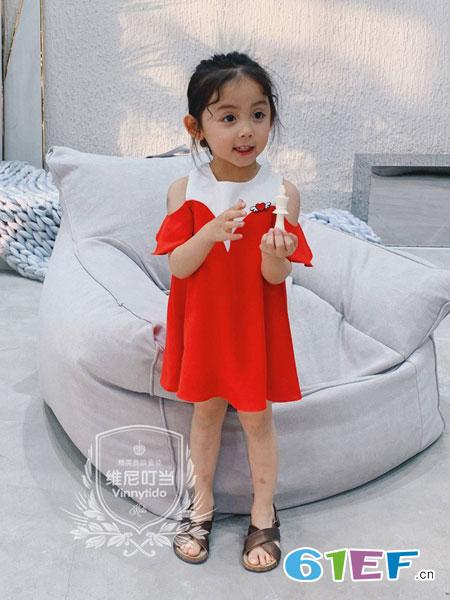 维尼叮当童装品牌2019春夏露肩连衣裙纯棉连衣裙