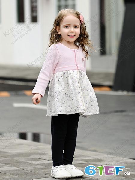 卡拉贝熊童装品牌2019春季纯棉长袖连衣裙粉红拼接洋裙子