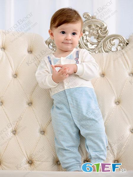 卡拉贝熊童装品牌2019春季 绅士长袖对襟连衣裤哈衣男童潮