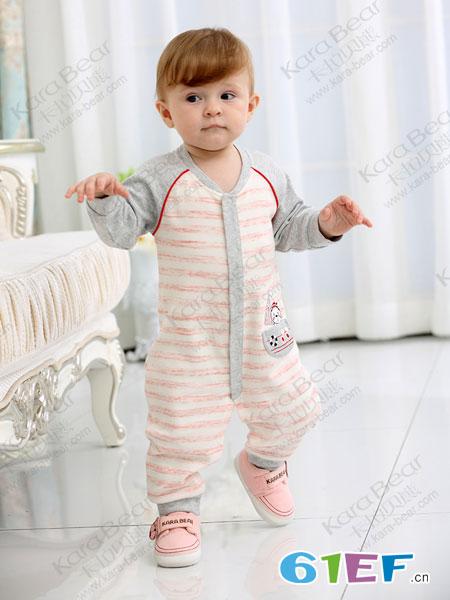 卡拉贝熊童装品牌2019春季爬服男童长袖对襟连体睡衣哈衣