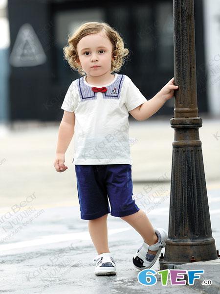 卡拉贝熊童装品牌2019春季圆领薄款好奇宝宝短袖T恤衫领结衫