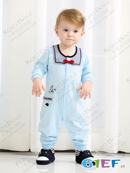 卡拉贝熊童装品牌2019春季新款韩版长袖纯棉连身包屁衣爬爬服