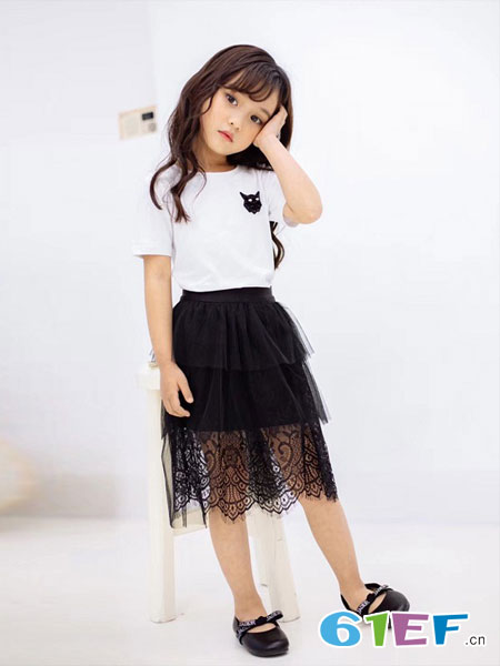 爱比丽屋童装品牌2019春夏洋气短袖儿童网纱公主裙时尚洋气两件套