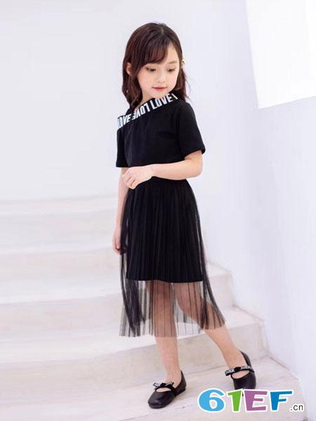 爱比丽屋童装品牌2019春夏网纱透视短袖黑色连衣裙