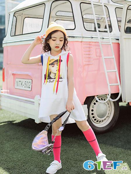欧卡星童装品牌2019春夏宽松百搭韩版中长款纯棉外穿原宿风bf无袖上衣