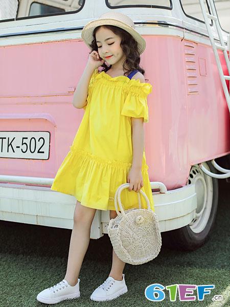 欧卡星童装品牌2019春夏公主连衣裙儿童露肩吊带裙