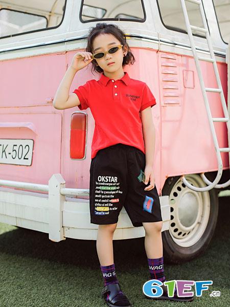欧卡星童装品牌2019春夏半开领纽扣童polo领红色短袖T恤