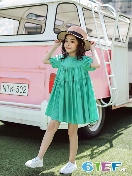 欧卡星童装品牌2019春夏绿色圆领短袖女童连衣裙连身裙