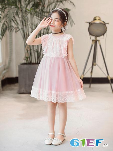 �W卡星童�b品牌2019春夏新款中大童粉白色��和��U空刺�C�W�此�r已�是�M����b公主裙