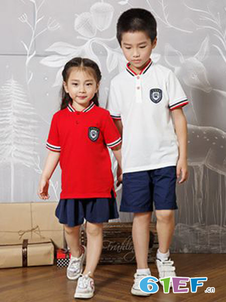 花镜校服童装品牌2019春夏小学生校服老师园服纯棉短袖套装英伦