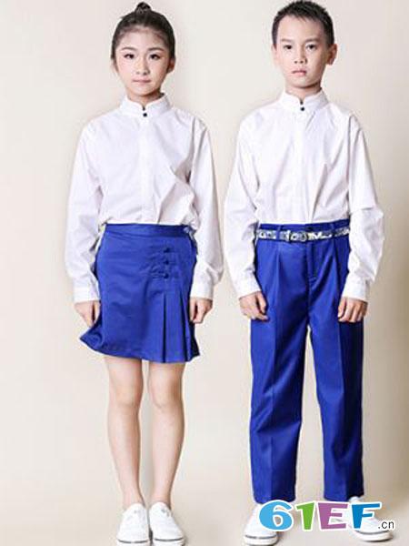 花镜校服童装品牌2019春夏长袖套装定制白衬衫校园礼服