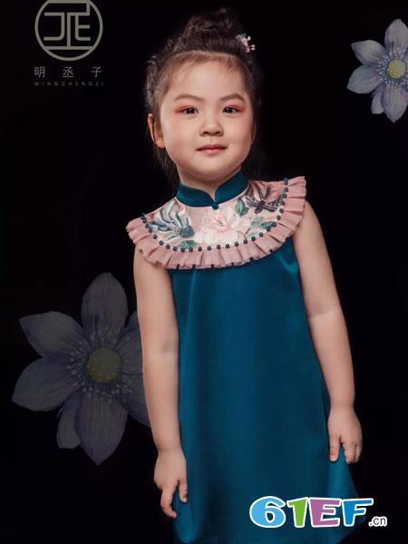 明丞子童装品牌2019春夏洋气公主旗袍小女孩汉服襦裙中国风