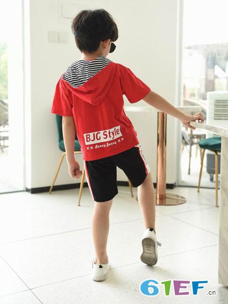BennyJenny童装品牌2019春夏街头嘻哈宽松连帽红色国潮短袖T恤